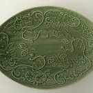 "Bordallo Pinheiro Portugal Green Pottery Serving Oval Tray Platter, 15"" x 11"""