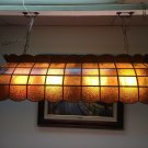 "Vintage Huge Amber Slag Glass Pool or Billiard Table Light w/4 Bulbs, 48"" Long"