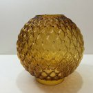 Vintage GWTW Gone with the Wind Amber Glass Diamond Quilted Shade Globe, 8 1/2""
