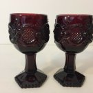 """Pair of Avon Cape Cod Ruby Red Glass Wine Goblets, 6"""" Tall x 3 1/2"""" Diameter"""