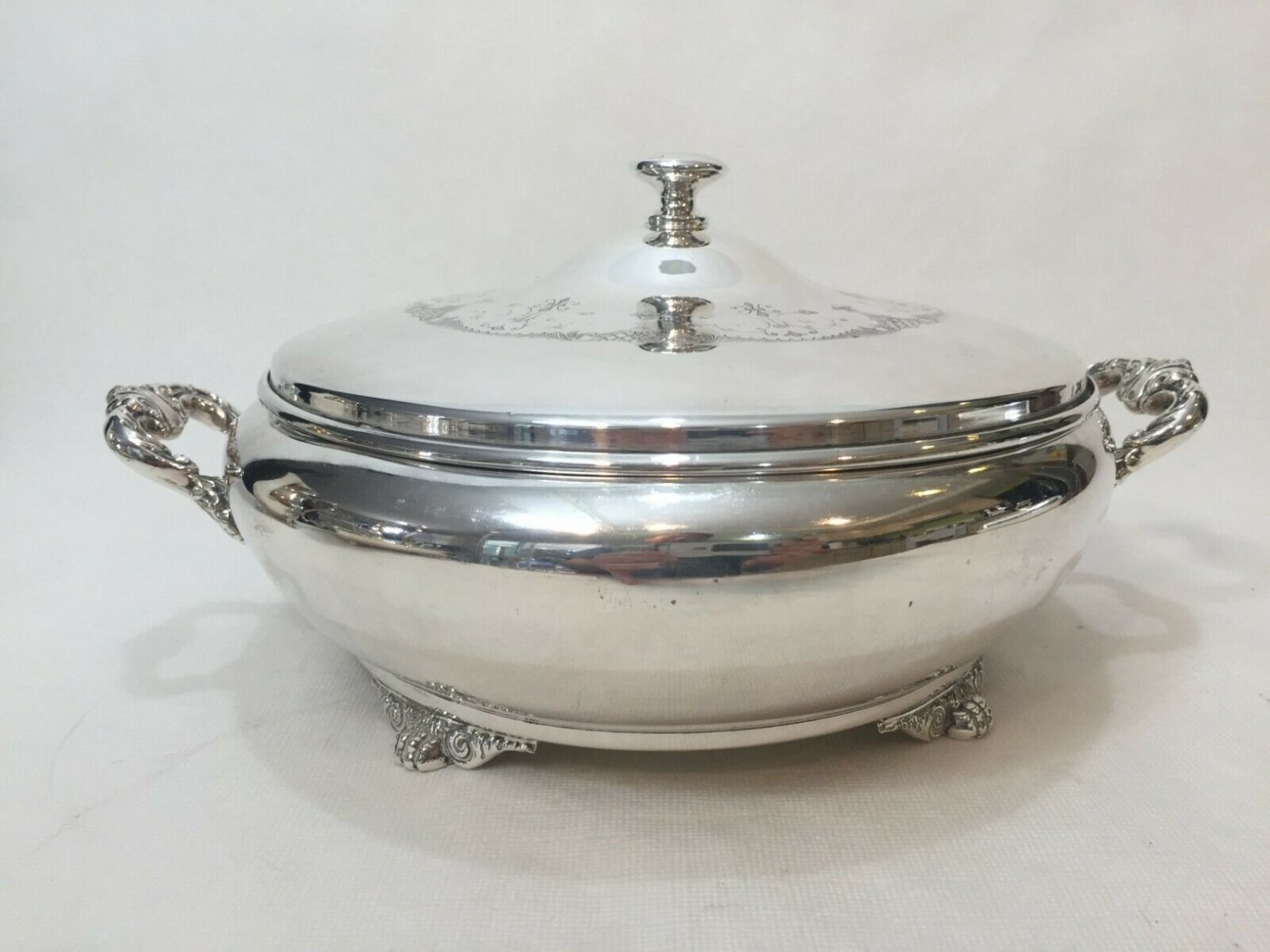 VTG WM Rogers Hamilton Silverplate Serving Dish w/Anchor Hocking Glass Insert