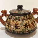 Vintage Cuzco Peru Ceramic Handpainted Jaguar Handles Vessel Jar Pot w/Lid