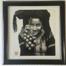 """Chinese Art Gouache Girl Portrait, Signed, Framed, 14"""" x 15 1/2"""" (Image)"""