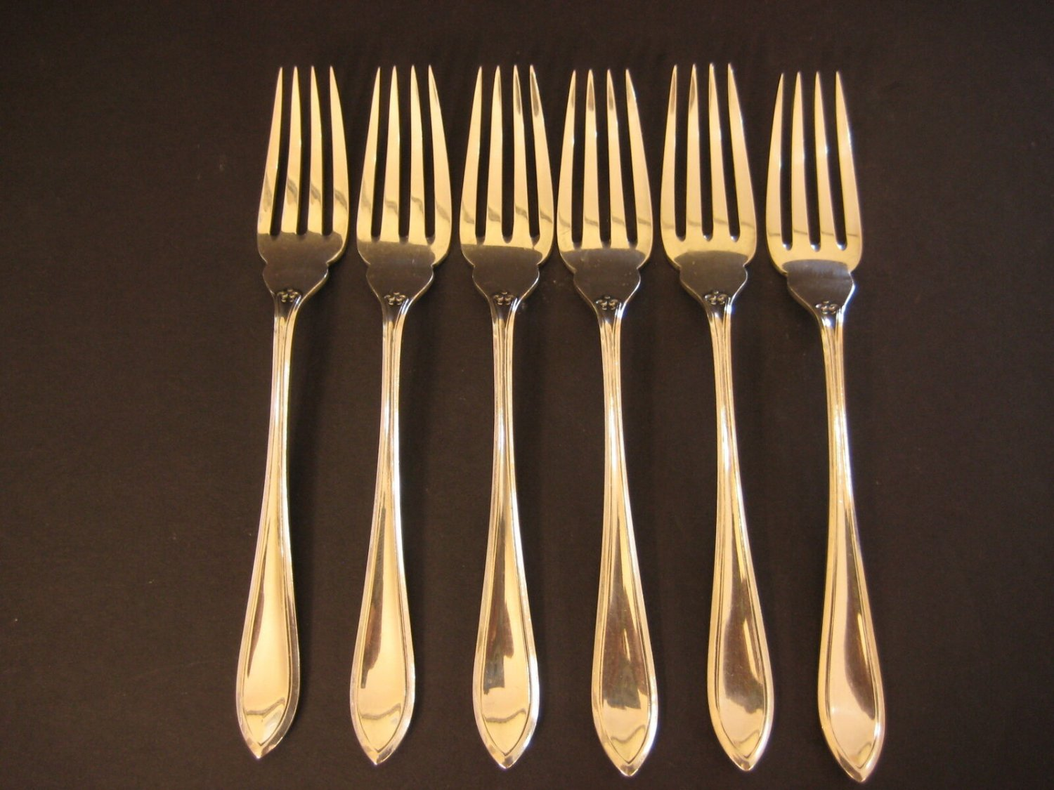 "Set Of 6 Antique Rd 686611 Silver Plate Forks, 6 1/2"" Long (Rare)"