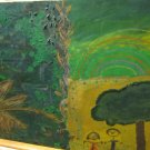 Original Oil Crayon Painting On Wooden Board