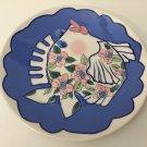 "Stoneware Art Diane Plate Kissing Fish Ocean Come Dream w/Me, 11 3/4"" Dia"