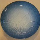 """NICE JAPANESE ARITA BLUE IRIS ORCHID EMBOSSED CHARGER PLATE, 12"""" DIA X 2"""" HIGH"""