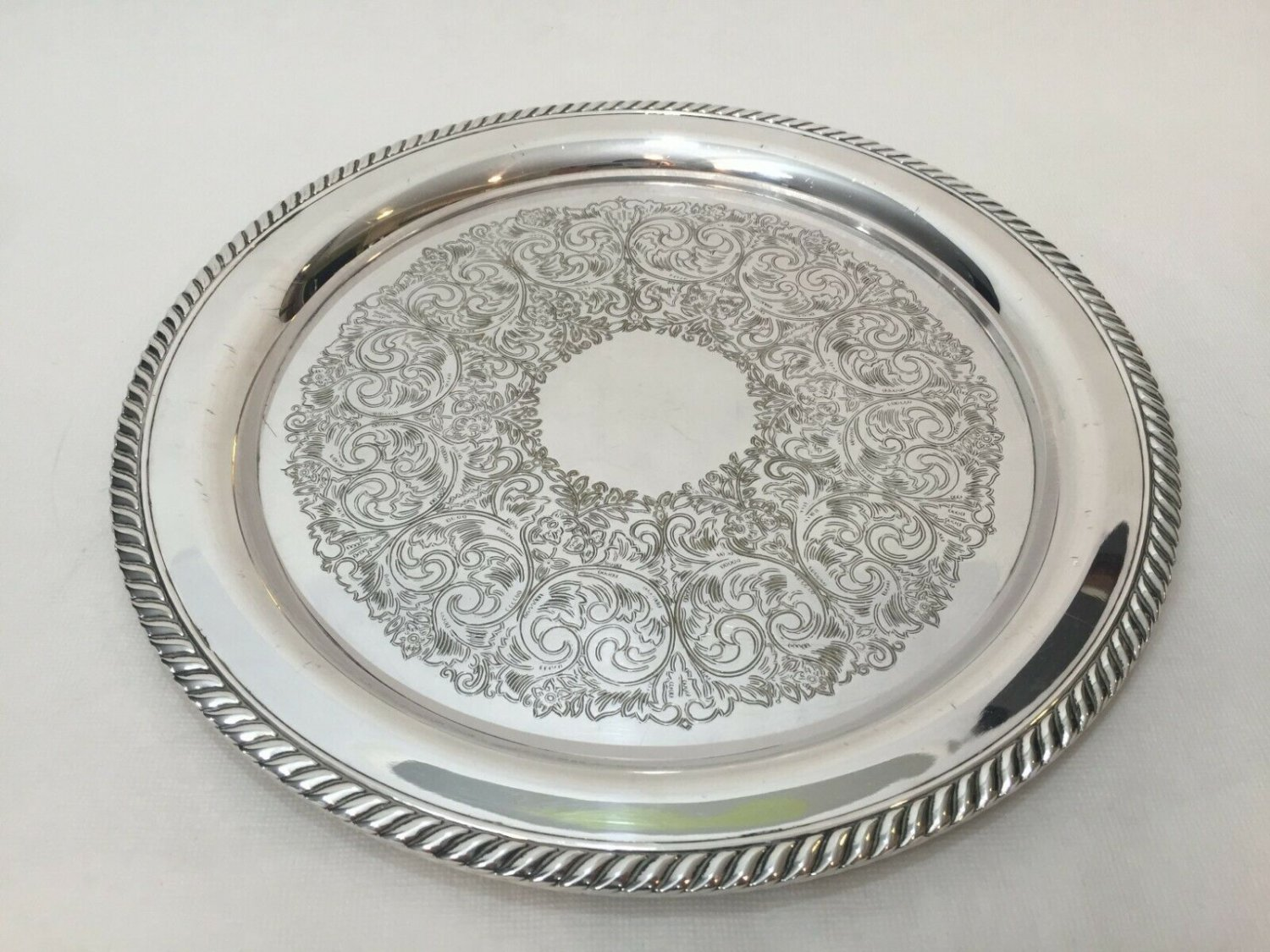 "Vintage WM. A. Rogers Round Silverplate Tray, 12 1/4"" Diameter x 3/4"" High"
