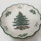 """Spode Christmas Tree Round Fluted Bowl w/Green Trim, 6 1/2"""" Dia x 1 1/4"""" High"""