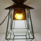 "Vintage Stained Glass Hanging Lantern Light, Retro Pagoda Shape Swag Lamp, 18"" T"