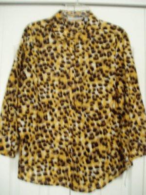 Sag Harbor Shirt Top Blouse Large Leopard Print 3/4 NEW