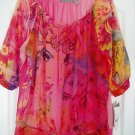 NY Collection Top Shirt Medium Print Beaded Sheer New