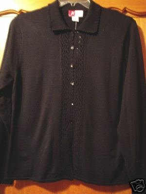 J M Collection Blouse Top Shirt Black Medium New NWT