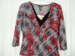 JTB Top Shirt Small Butterfly Print  3/4 Sleeve NEW