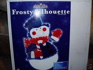 Snow Man Silhouette 70 Mini Lights Ornament Yard Frosty