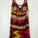 Ronni Nicole Dress 12 Green Red Print Sleeveless New