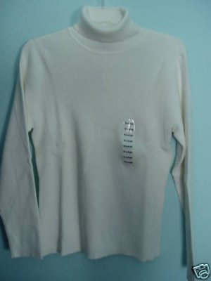 Style & Co Top Shirt Large Turtle Neck Ribbed Eggshell