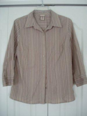 Covington Top Shirt Blouse Medium M Stripes Brown NEW