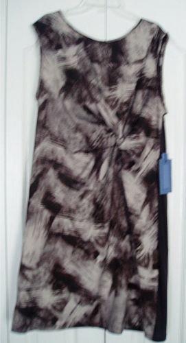 Simply Vera Wang Dress Large Gray Brown Print Tank NEW