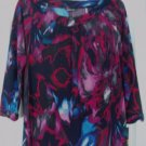Daisy Fuentes Top Shirt Small Splash Print 3/4 Sleeve
