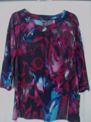 Daisy Fuentes Top Shirt Small Splash Print 3/4 Sleeve