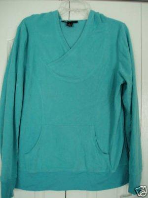 Style & Co Hoodie Top Sweatshirt Small Aqua Fleece New