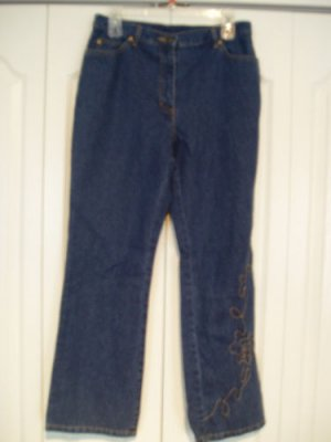 Style & Co Jeans Pants Dungaree 12P Blue Embroidered