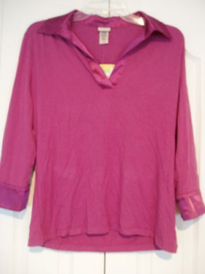 Covington Top Shirt Small Lavender Collared Johnny NEW