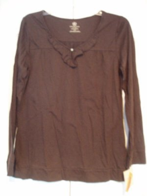Covington Top Shirt Small Brown Ruffled Cotton NEW