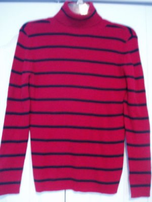 Covington Top Shirt Turtle Neck PS Red Black LS Ribbed