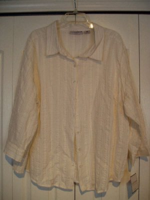 Sag Harbor Top Shirt 3X White Pinstripe Gold Glitte NEW