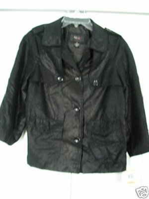Style & Co. Jacket Top Small Black Metallic Light NEW