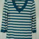 Style & Co Top Shirt Large Aqua White Stripe 3/4 Sleeve