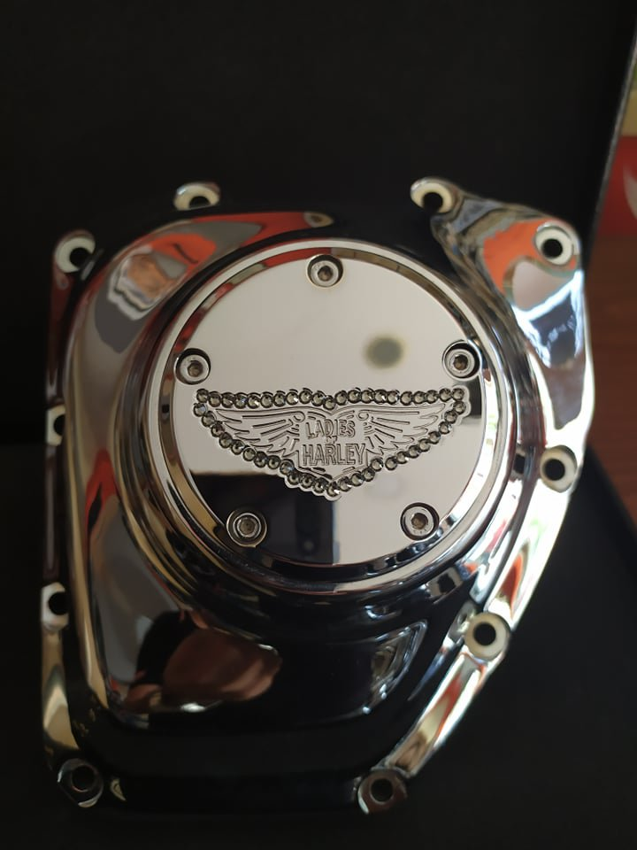 "26159-4162-317CHR Harley Davidson Twincam Swarovski Point Cover Chrome  ""Ladies Of Harley"""