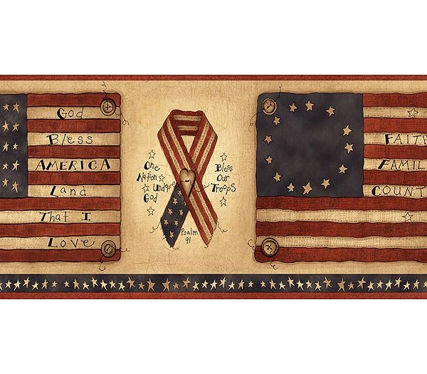 Flags Ribbons Americana Patriotic Wallpaper Wall Border