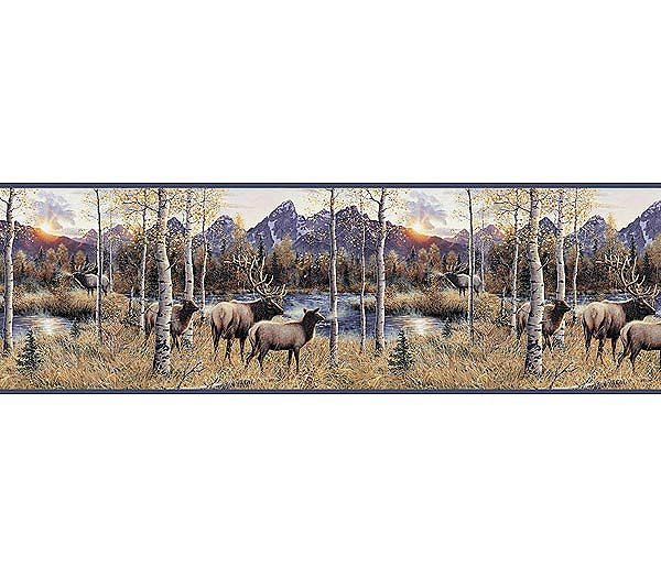 Elk River Forest Mountain Nature Wallpaper Wall Border