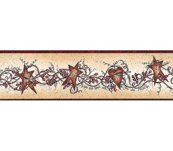Folk Country Rusty Hearts Stars Wallpaper Wall Border