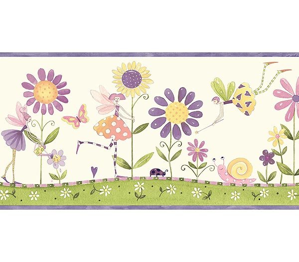 Purple Flower Fairies Wallpaper Wall Border