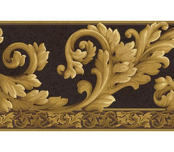 Black Gold Acanthus Wave Wallpaper Wall Borders