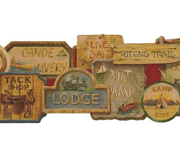 Camping Signs Lodge Lodge Wallpaper Wall Border