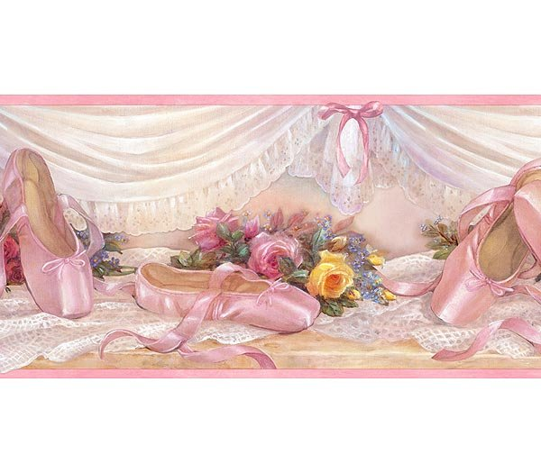 Pink Ballet Slippers And Lace Wallpaper Wall Border