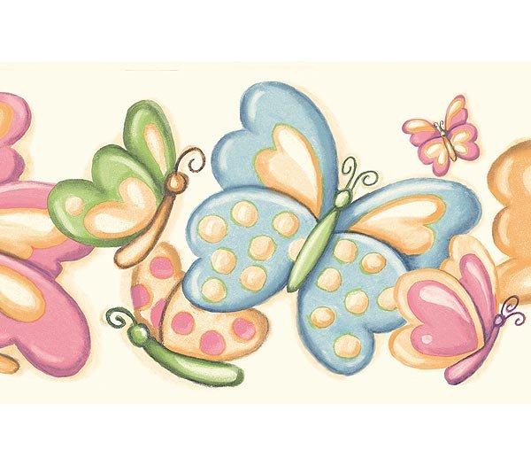 Pastel Bubbly Butterflies Wallpaper Wall Border