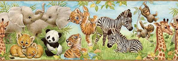 Jungle Babies Panda Zebra Tiger Wallpaper Wall Border