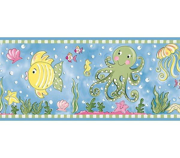 Blue Underwater Bathroom Kids Wallpaper Wall Border