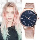 Ladies Mesh Band Marble Wristwatch Simple Silver Rose Gold Strap Quartz Watch