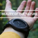 UWOOD Mens Wood Watch Black Sandal Solid Wooden Watch Gift Men