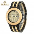 BEWELL Men's Wooden Watches Analog Quartz Date Wood Band Wrist Watch Xmas Gifts
