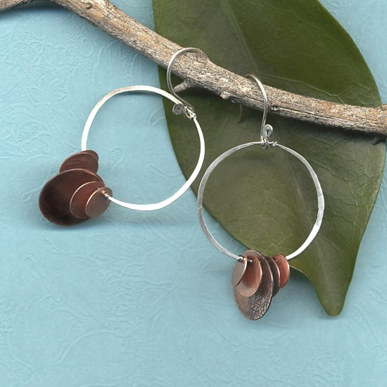 Silver with Copper Disks Loop Earrings