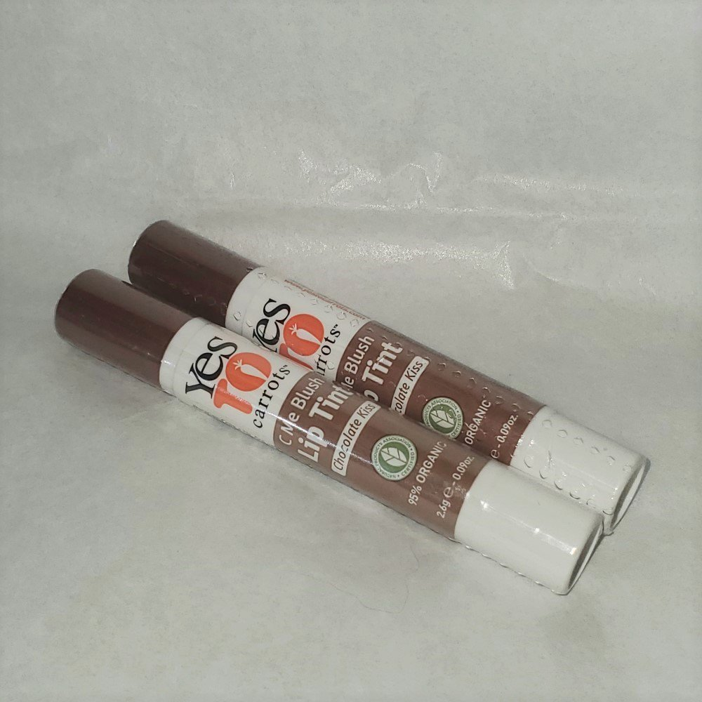 Yes to Carrots lip tint Chocolate Kiss C Me Blush pair