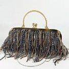 Evening Bag Black Strands of Seed Beads Beaded Handbag Purse